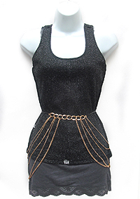BIKINI CROSS OVER METAL HARNESS BODY CHAIN