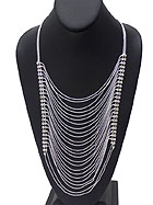 CRYSTAL MULTI LAYERED THIN CHAIN NECKLACE