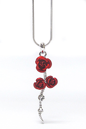 WHITEGOLD PLATING ROSE NECKLACE
