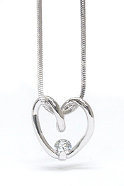 WHITEGOLD PLATING DESIGNER STYLE CRYSTAL BALL AND HEART NECKLACE