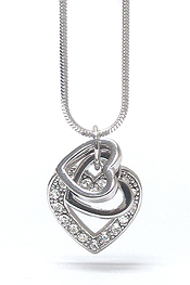 WHITEGOLD PLATING CRYSTAL TRIPLE HEART LINK PENDANT NECKLACE