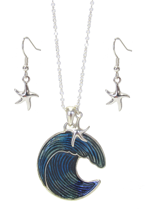 STARFISH AND WAVE PENDANT NECKLACE SET