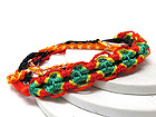 CRYSTAL AND FASHION COLORFUL THREAD LINK FRIENDSHIP BRACELET