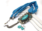 ARROWHEAD TURQUOISE STONE AND PEARL INSIDE RECTANGLE ACCENT METAL ART DESING DROP FABRIC NECKLACE EARRING SET