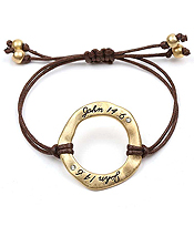 HANDMADE AND RELIGIOUS INSPIRED OPEN DISK CORD BRACELET - JOHN 14:6 - Wholesale Jewelry