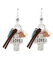 HANDMADE AND RELIGIOUS INSPIRED CROSS AND ANGEL WING EARRING