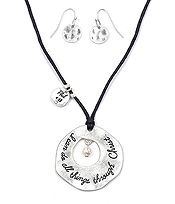 HANDMADE AND RELIGIOUS INSPIRED OPEN DISK NECKLACE SET - PHIL 4:13