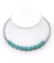 BEADS TUBE RONDELLE COLLAR NECKLACE