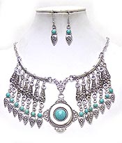 METAL FILIGREE AND TURQUOISE DROP BOHEMIAN NECKLACE SET