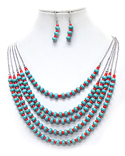 5 LAYER TURQUOISE STONES METAL CHAINNECKLACE SET