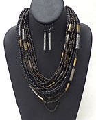 MULTI SEED BEADS AND WOOD CHIPS CHAIN MIX NECKLACE EARRING SET