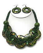 MULTI SEED BEADS AND ANIMAL PRINT WOOD RING NECKLACE EARRING SET
