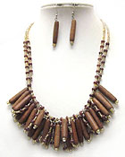 MULTI WOODEN STICK DANGLE AND MULBI CHIP STONE DOUBLE CHAIN NECKLACE EARRINGSET