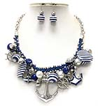 CRYSTAL DECO MULTI NAUTICAL THEME ANCHOR CHARM NECKLACE EARRING SET