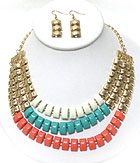 3 LAYERED AND COLOR PRINT METAL CHAIN NECKLACE EARRING SET