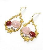 GENUINE SEMI PRECIOUS STONE  OVAL DOUBLE STONE EARRINGS - PINK