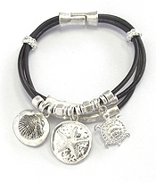 SEALIFE THEME MULTI CHARM AND CORD CHAIN MAGNETIC BRACELET