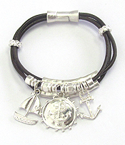 NAUTICAL THEME MULTI CHARM AND CORD CHAIN MAGNETIC BRACELET