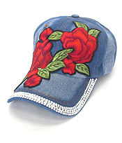 EMBROIDERED FLOWER AND CRYSTAL DENIM CAP