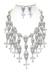 MULTI CRYSTAL SKULL AND CROSS DANGLE BIB NECKLACE SET