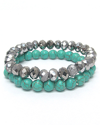 TURQUOISE AND GLASS STONE STRETCH BRACELET