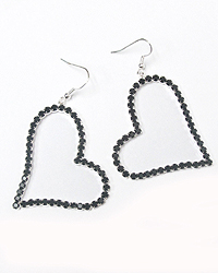 HEARTS CRYSTALS FISH HOOK EARRINGS