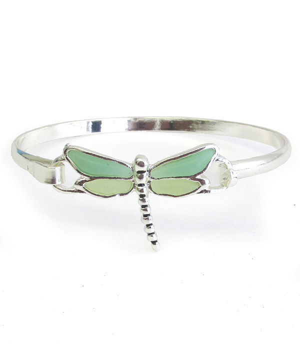 SEAGLASS DRAGONFLY BANGLE BRACELET