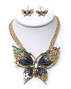 TRIPLE CHAIN EPOXY BUTTERFLY NECKLACE SET