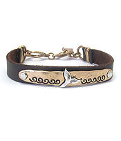 SEALIFE THEME LEATHER BAND BRACELET - WHALE TALE