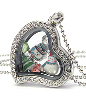 ORIGAMI STYLE FLOATING CHARM HEART LOCKET PENDANT NECKLACE - CHRISTMAS - LOCKET OPENS AND CHARMS INCLUDED