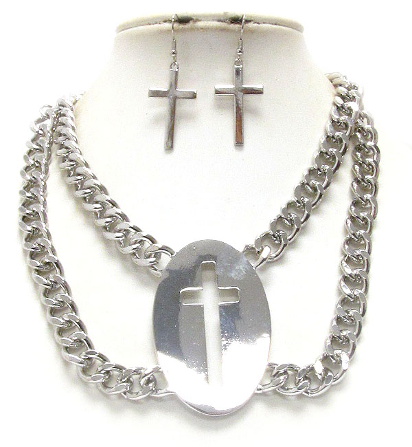PLAIN METAL PENDANT CROSS CUT AND DOUBLE THICK CHAIN NECKLACE EARRING SET