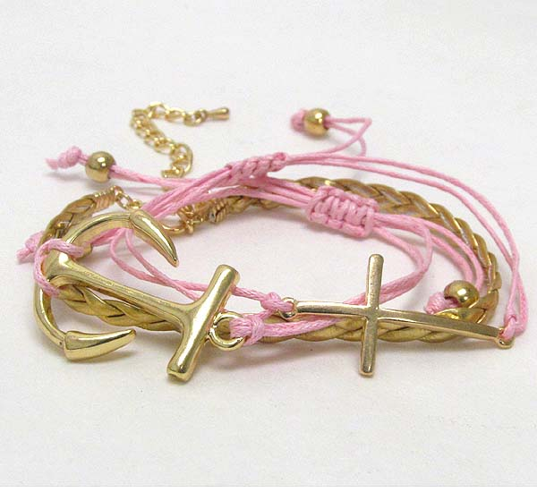 METAL ANCHOR AND CROSS CORD BRACELET