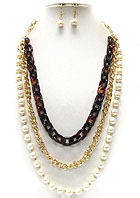 METAL AND ACRYLIC AND PEARL CHAIN 3 LAYERED NECKLACE EARRING SET