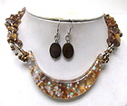 DECORATED RESIN AND STARS IN HALF OVAL GLASS DROP CHIP STONE MULTI CHAIN NECKLACE EARRING SET