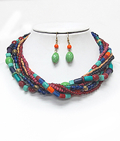 MULTI STRAND GLASS AND WOOD BEADS CHAIN NECKLACE EARRING SET