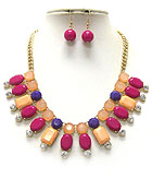 MULTI COLOR AND SHAPE ACRYLIC LINK NECKLACE EARRING SET