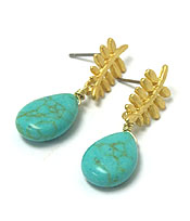 GENUINE SEMI PRECIOUS STONE METAL LEAF EARRING - TURQUOISE