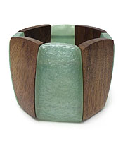 FORMICA AND WOOD MIX STRETCH BRACELET