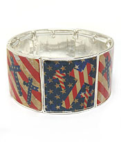 AMERICAN FLAG THEME WIDE STRETCH BARCELET