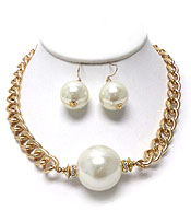 PEARL METAL CHAIN NECKLACE SET