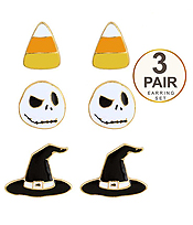 HALLOWEEN THEME 3 PAIR EARRING SET - CANDY WITCH HAT