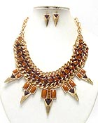 MULTI CRYSTAL AND METAL SPIKE AND THICK CHAIN NECKLACE EARRING SET