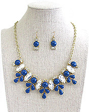 MULTI CRYSTAL AND ACRYLIC STONE DECO FLOWER LINK NECKLACE EARRING SET
