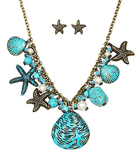 STARFISH AND SHELL MIX DROP CHUNKY NECKLACE SET