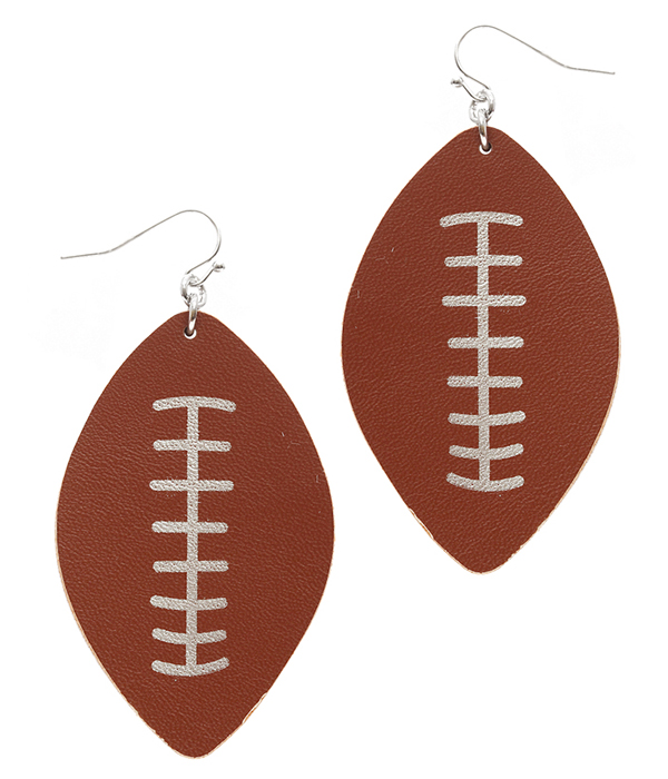 SPORT THEME LEATHER EARRING - FOOTBALL