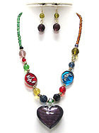 MURANO GLASS HEART PENDANT AND GLASS ART BEADS NECKLACE EARRING SET - Wholesale Jewelry