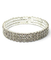 THREE LAYER OF STRETCH RHINESTONES BRACELET