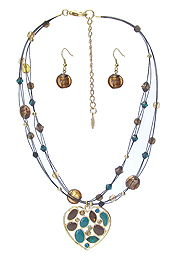 MULTI STONE MIX HEART PENDANT AND MULTI LAYER NECKLACE SET