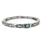 TEXTURED METAL AND TURQUOISE ACCENT STACKABLE STRETCH BRACELET