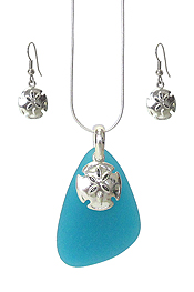 SEALIFE THEME SEA GLASS PENDANT NECKLACE SET - SAND DOLLAR